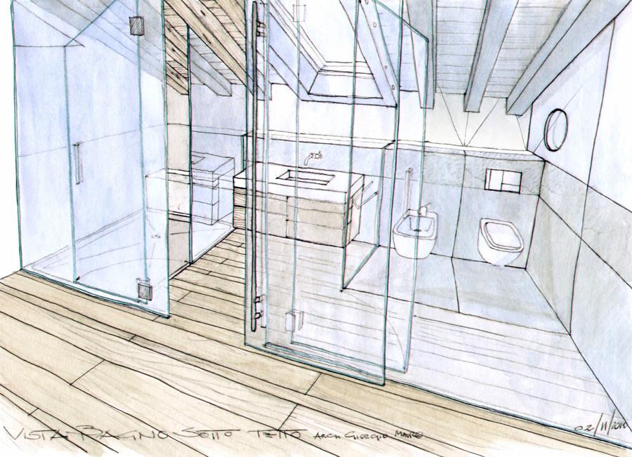 Progetto bagno sotto tetto vista dalla camera.