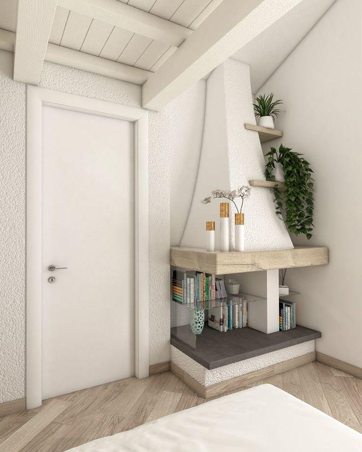 Progetto della camera da letto matrimoniale con soppalco - vista camino
