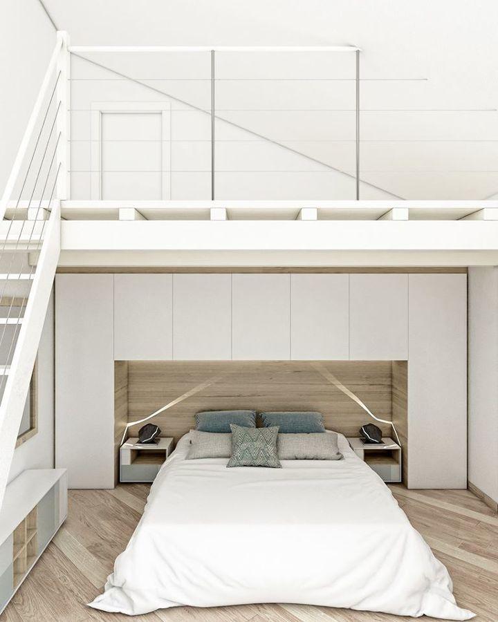 Progetto della camera da letto matrimoniale con soppalco - vista soppalco