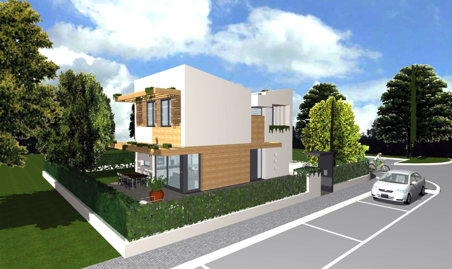 Foto progetto di casa unifamiliare compatta 140 mq di for Piani di architettura domestica moderna