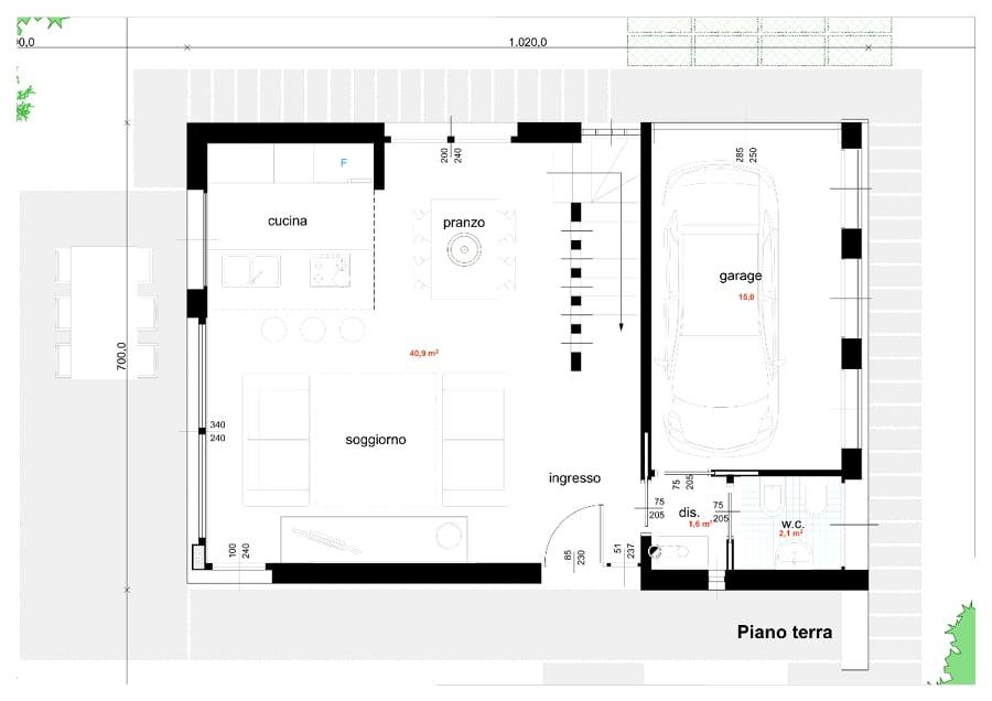 Foto progetto di casa unifamiliare compatta 140 mq di - Progetto casa 100 mq 2 bagni ...