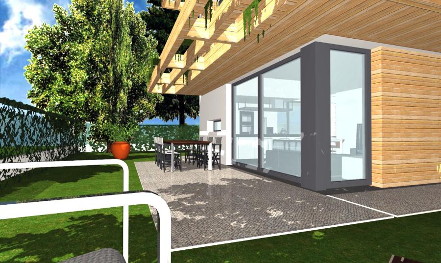 Foto progetto di casa unifamiliare compatta 140 mq di for Case di tronchi con planimetrie seminterrato