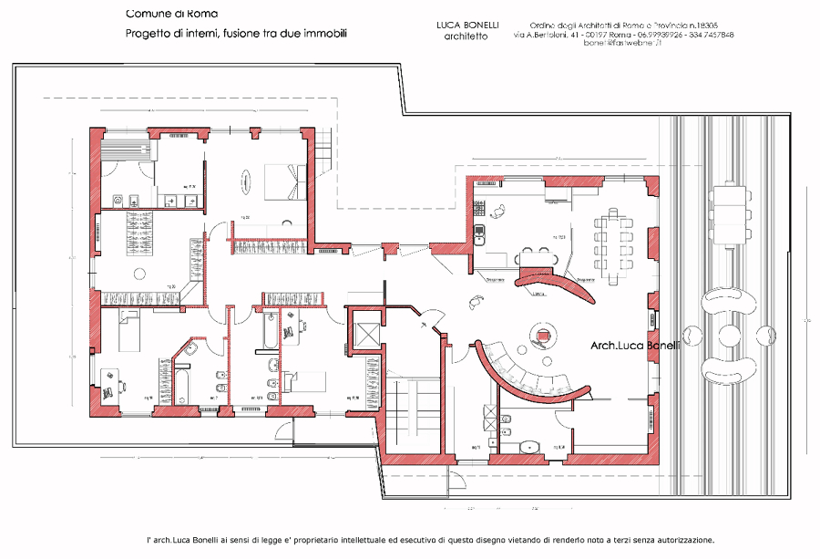 Progetto di fusione di due appartamenti a roma idee for Piani di idee di progettazione seminterrato