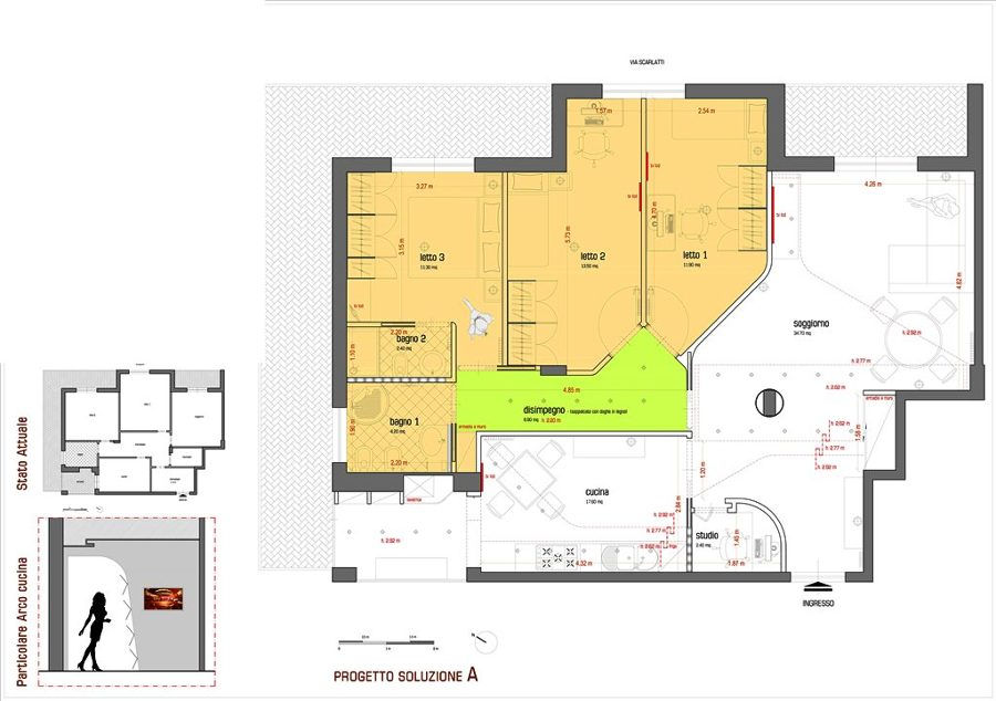 Popolare Progetto di Ristrutturazione di un Appartamento - Soluzione a - b  TA18