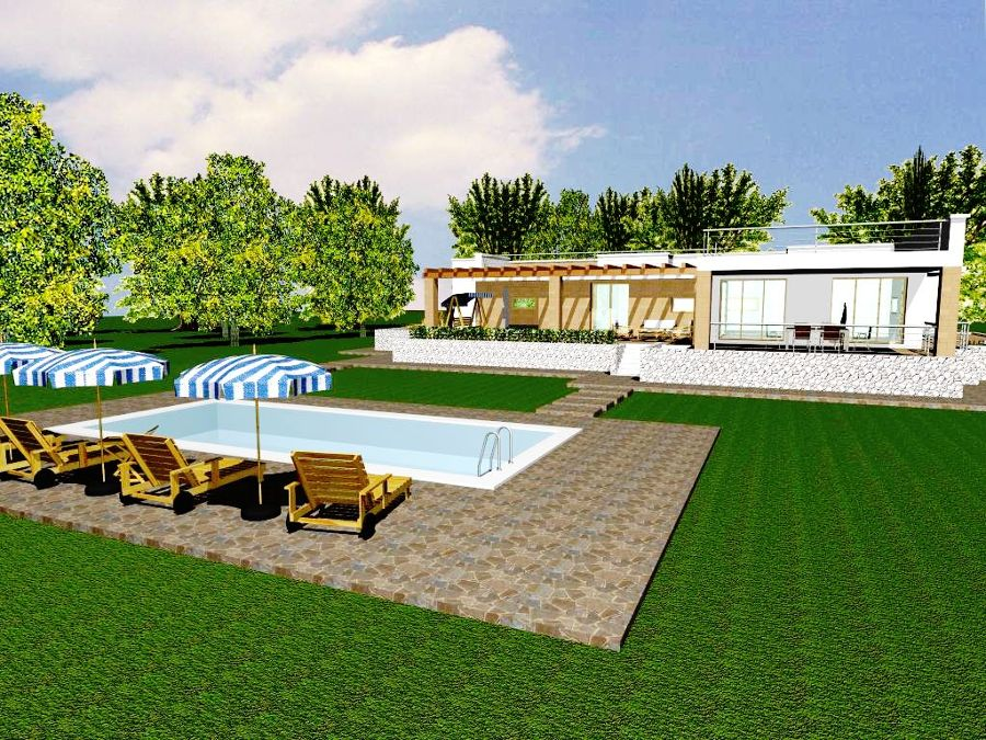 Progetto con render e costruzione di villa con piscina in for Piani del cortile con piscine