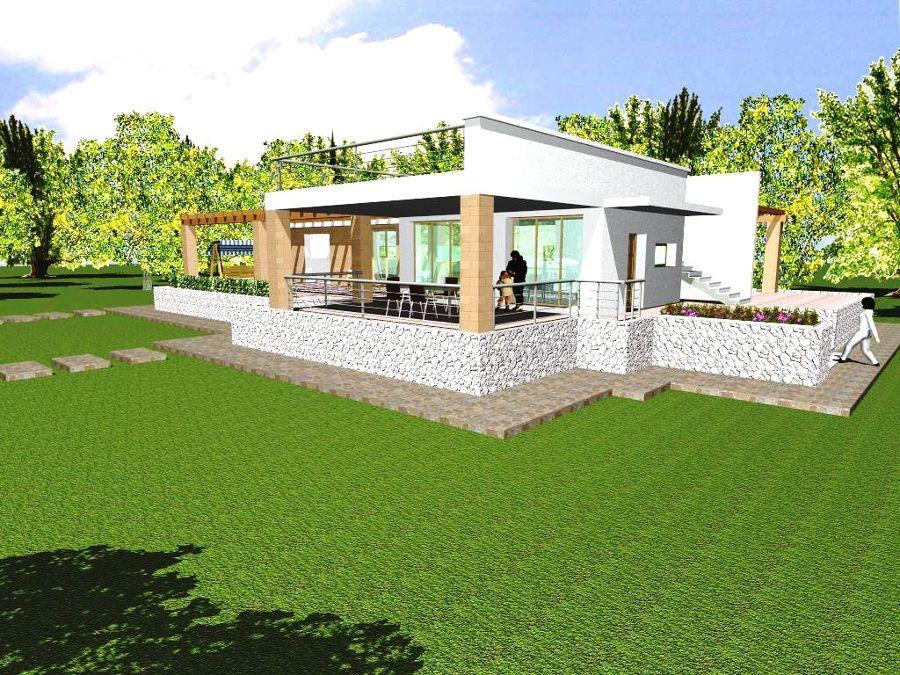 Progetto con render e costruzione di villa con piscina in for Piani di costruzione casa moderna