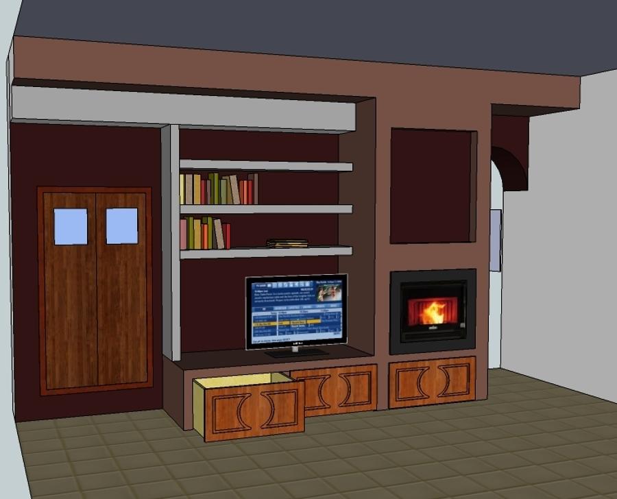Progetto realizzazione mobile in muratura cartongesso e posa di stufa e pellets idee - Mobili in muratura per soggiorno ...