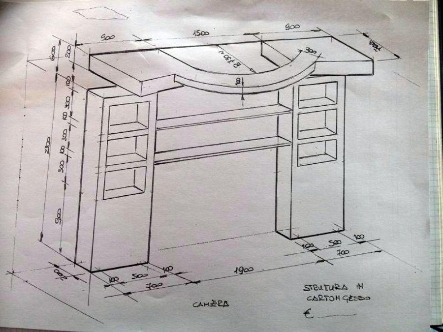 Testata Del Letto In Cartongesso : Foto progetto libreria testata dietro letto di imp edile totò