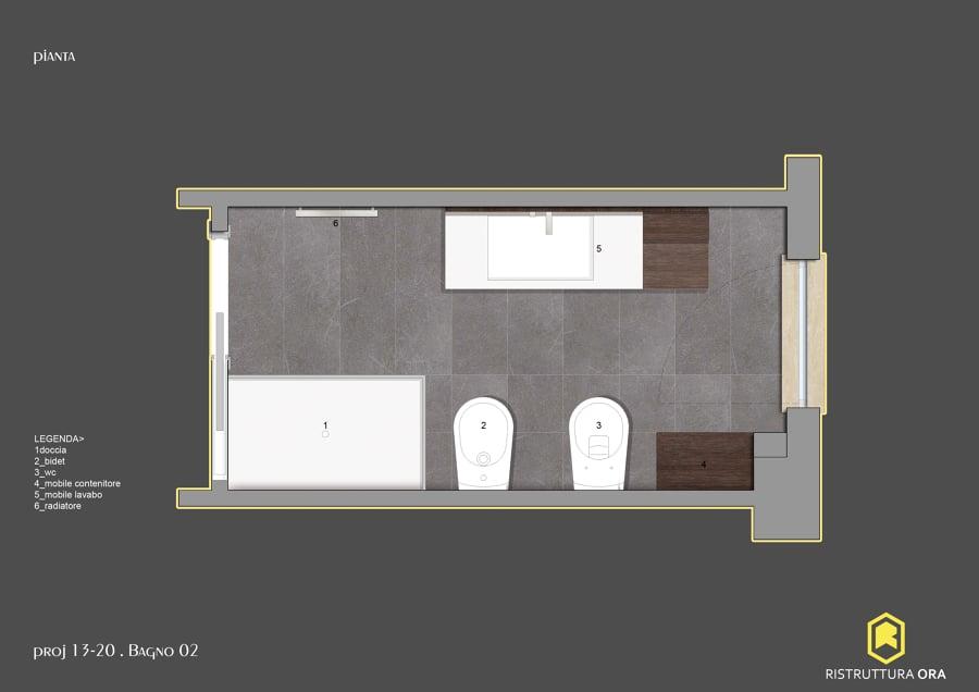 Progetto per la ristrutturazione di un bagno di 6mq idee ristrutturazione bagni - Termoarredo per bagno 6 mq ...