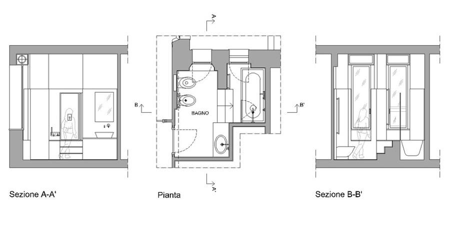 Ristrutturazione appartamento con collegamento di due for Piani del bagno seminterrato