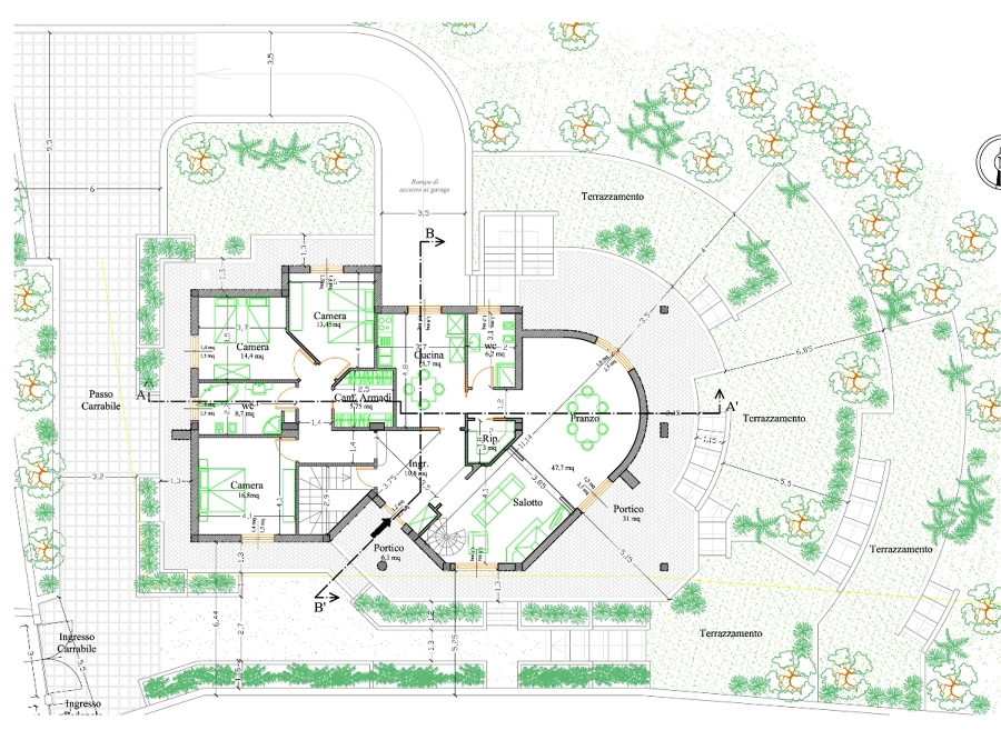 Progetto realizzazione villa rosa idee costruzione case for Piani del cortile con piscine