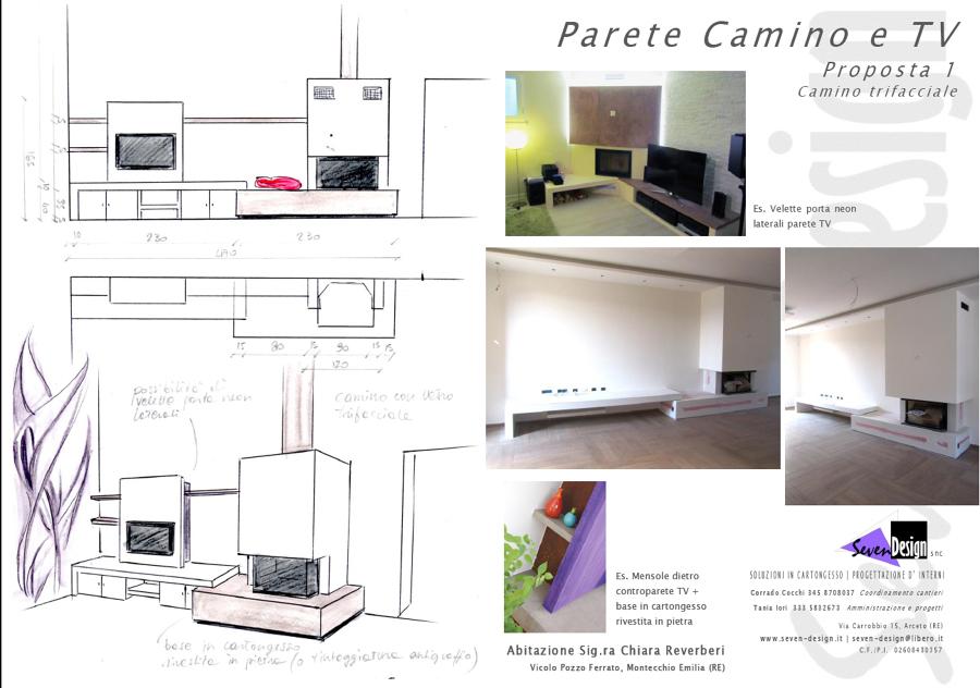 Foto progetto zona giorno con camino parete tv di seven for Parete con camino e tv