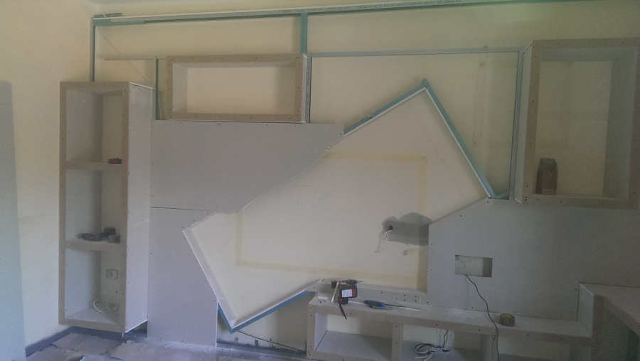 Progetto mobile in cartongesso idee costruzione case - Parete mobile in cartongesso ...