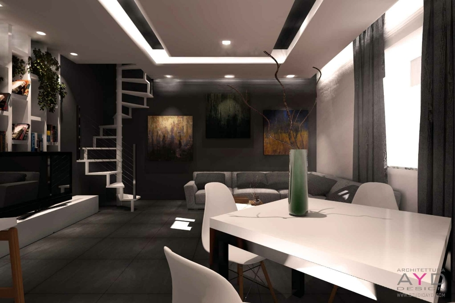 Idee controsoffitto soggiorno idee creative di interni e for Design moderno casa industriale