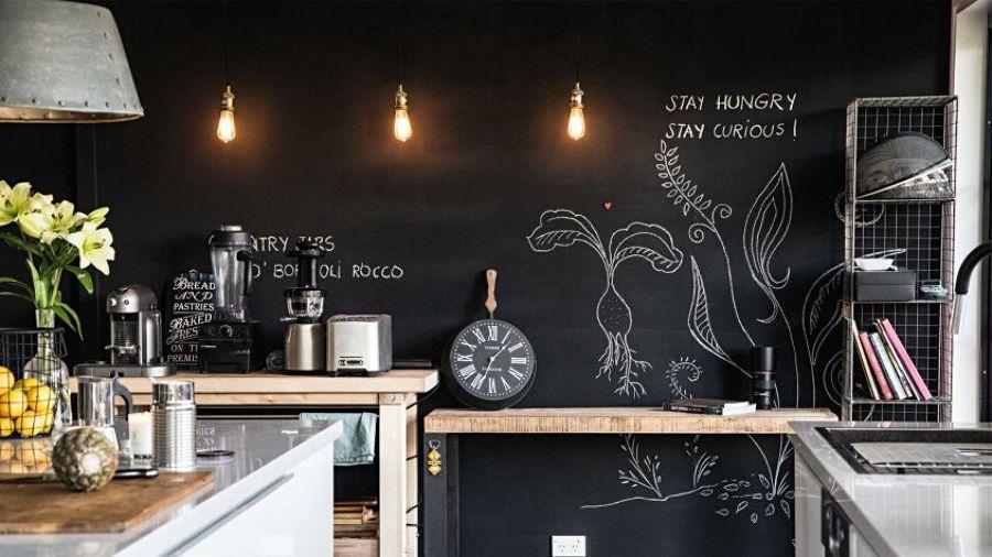 Parete Di Lavagna In Cucina : Cucina in legno su parete di metri camini fai da te camini
