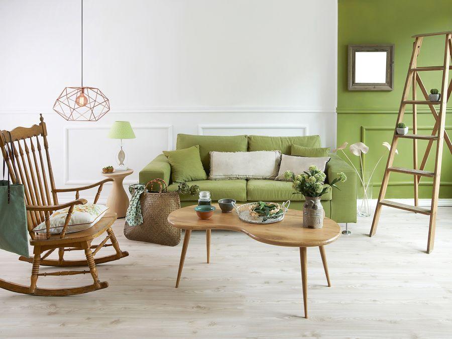 Salotto bianco e verde
