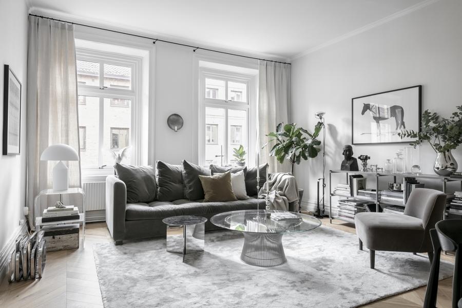 Salotto con divano grigio