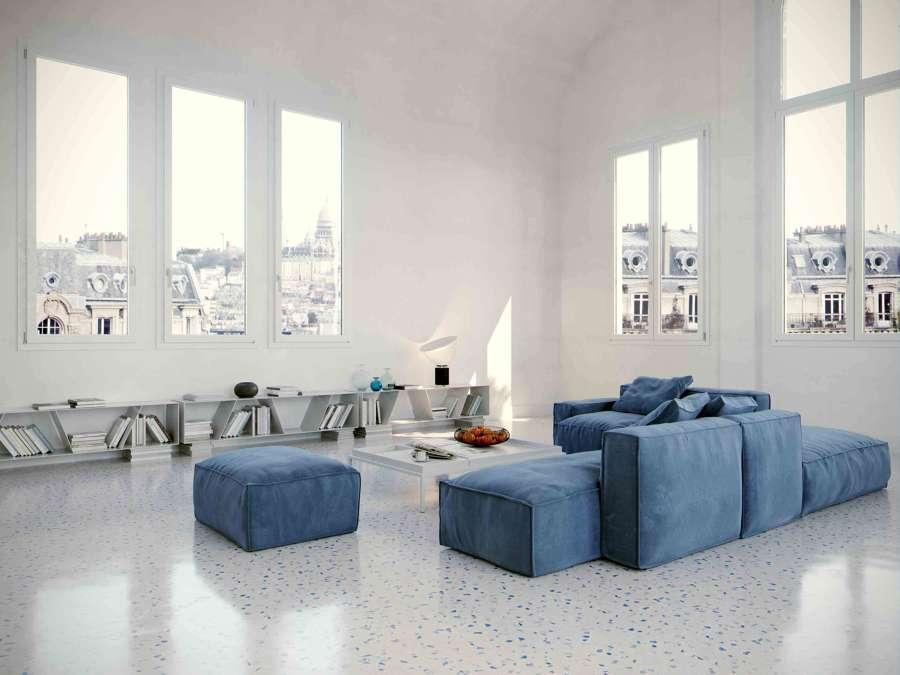 Salotto con pavimento Terrazzo moderno