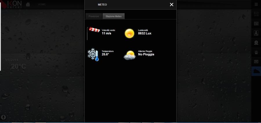 Schermata dei valori forniti dalla stazione meteo