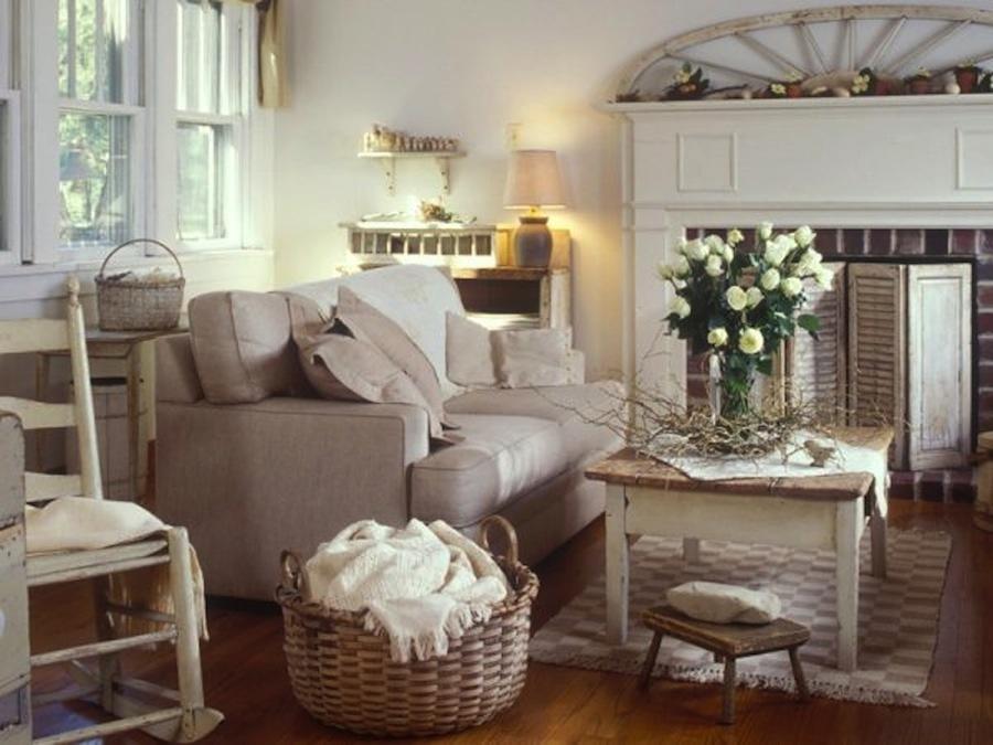 Foto soggiorno con camino shabby chic 346016 habitissimo - Arredamenti vintage casa ...
