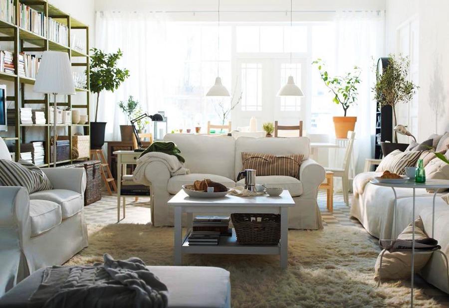soggiorno open space divani classici
