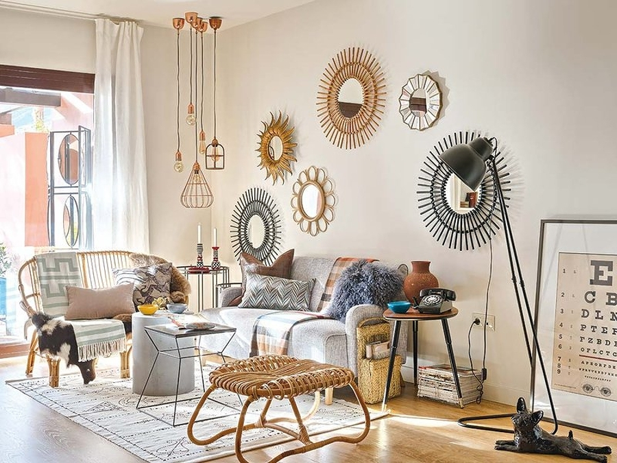 Foto specchio a forma di sole di valeria del treste for Decorar paredes con cuadros y espejos