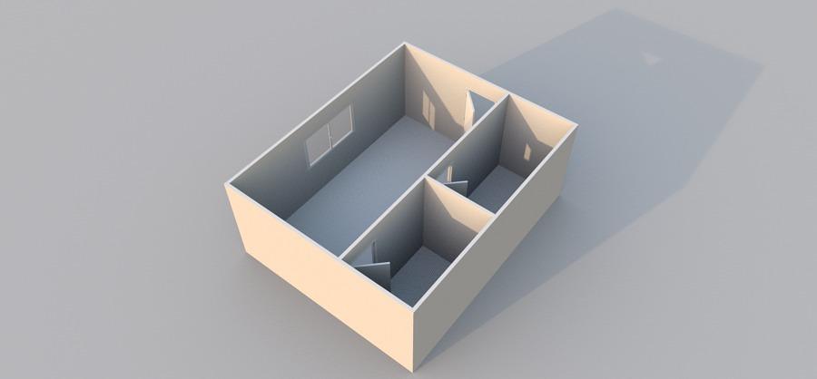 stessa stanza con pareti divisorie aggiunte