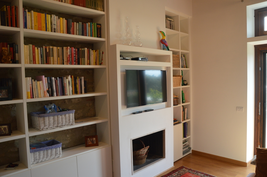 struttura libreria, camino tv integrata
