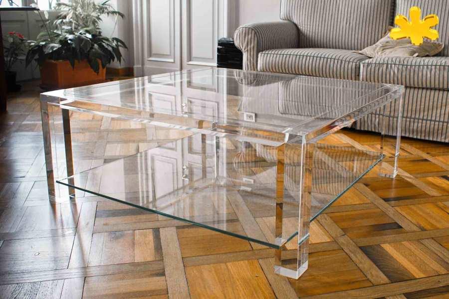 Tavolini In Plexiglass : Tavolini da salotto in plexiglass trasparente con ripiano