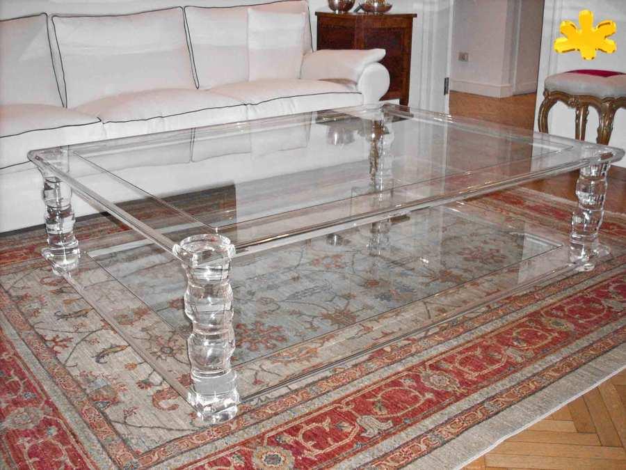 Tavolini da salotto in plexiglass trasparente a due piani - Tavolino plexiglass ...