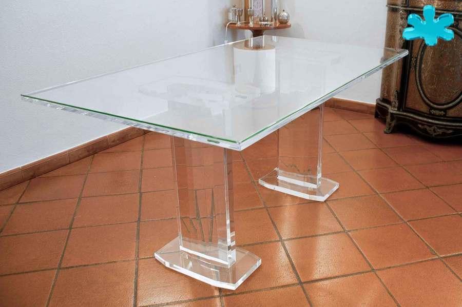 Tavoli da pranzo in plexiglass trasparente a 2 colonne - Portafoto da tavolo plexiglass ...
