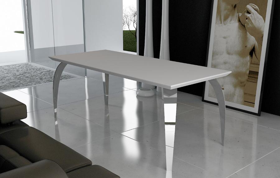 Shangai tavolo in acciaio inox e cristallo collezione shangai by