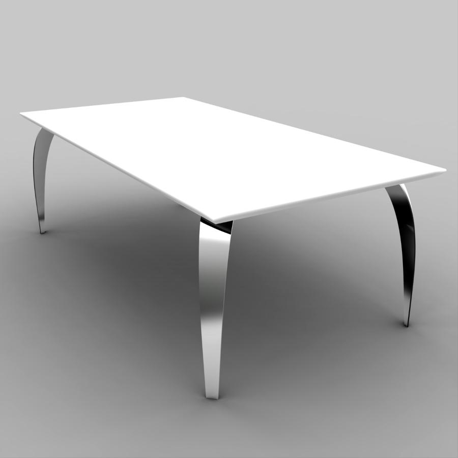 """Tavolo """"Logica"""" con piano di DuPont™ Corian® e gambe di  acciaio cromato"""