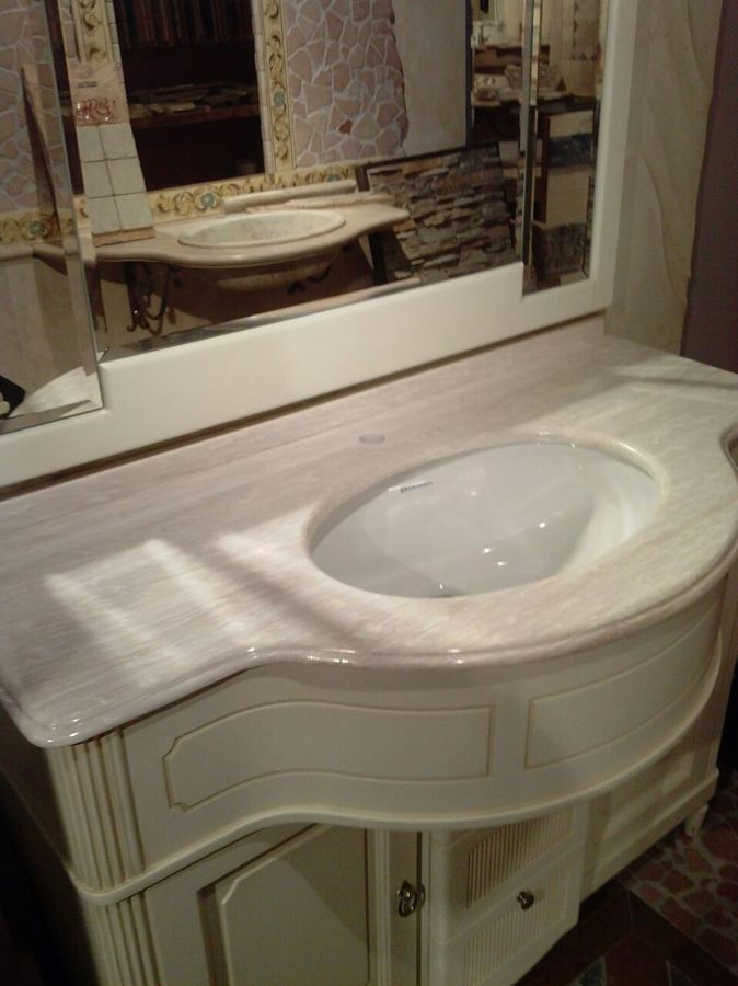 top bagno con lavello in ceramica incassato