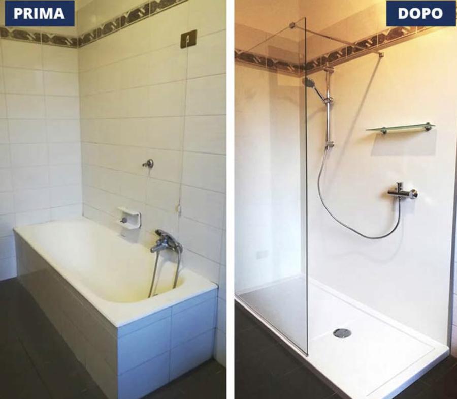 Trasformazione della vasca in doccia paratia walk in