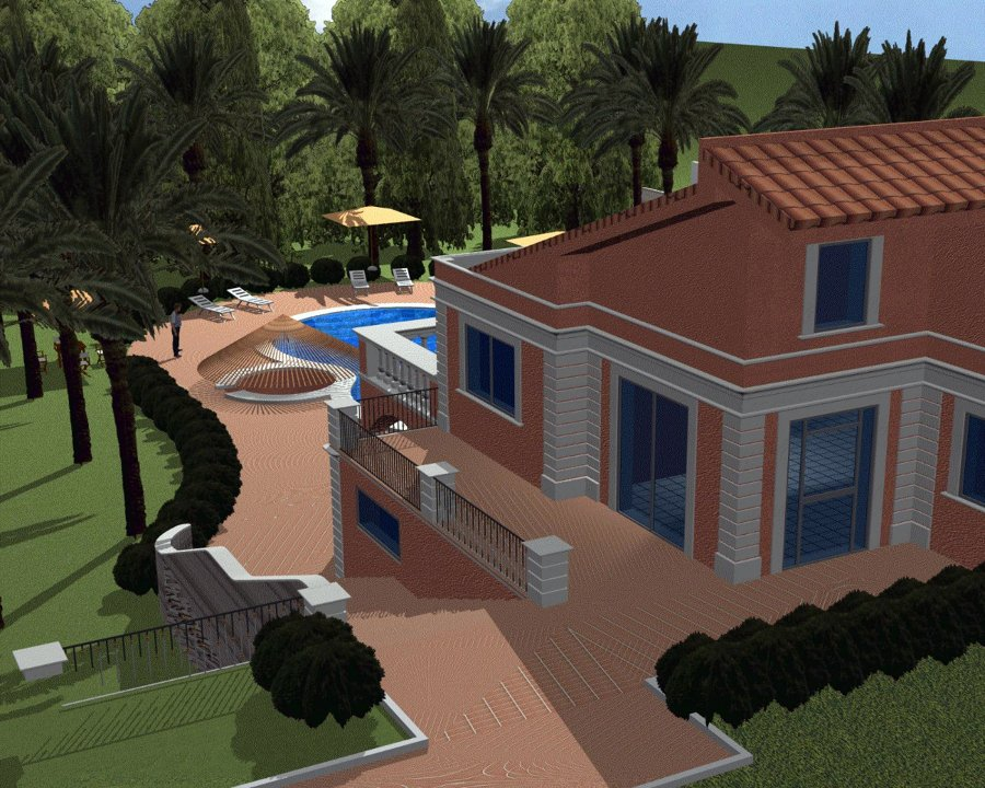 Progettazione di una villa unifamiliare con piscina e for Piani di una casa a un piano senza garage