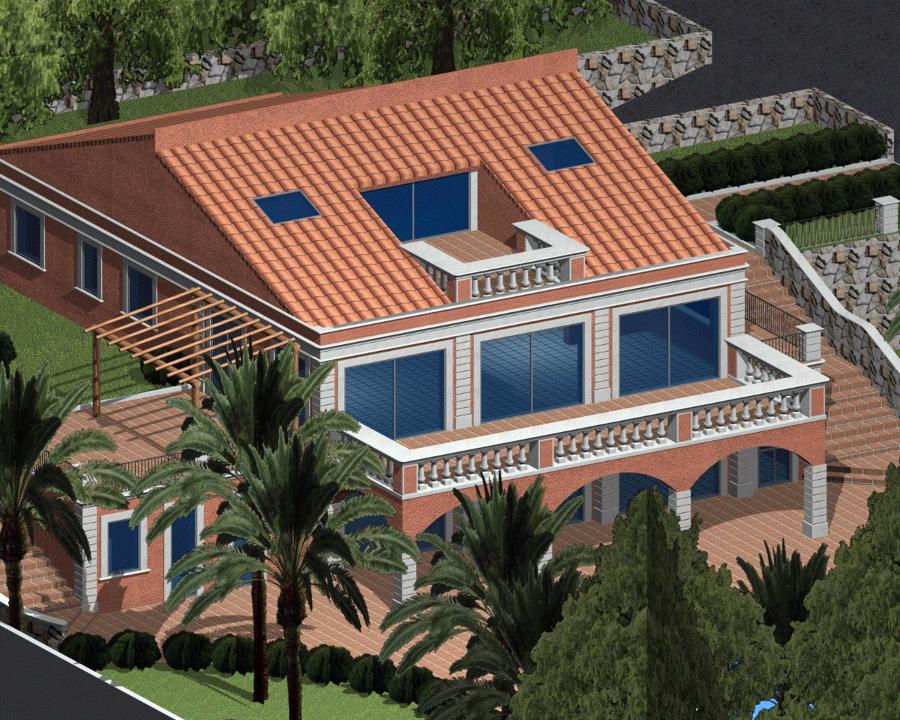 Progettazione di una villa unifamiliare con piscina e parco progettazione villette a schiera - Progetto villa con piscina ...