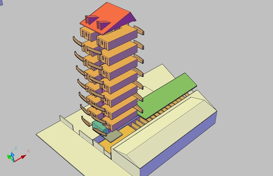 Progetto di nuova palazzina in contesto industriale idee for Piano piano lotto stretto