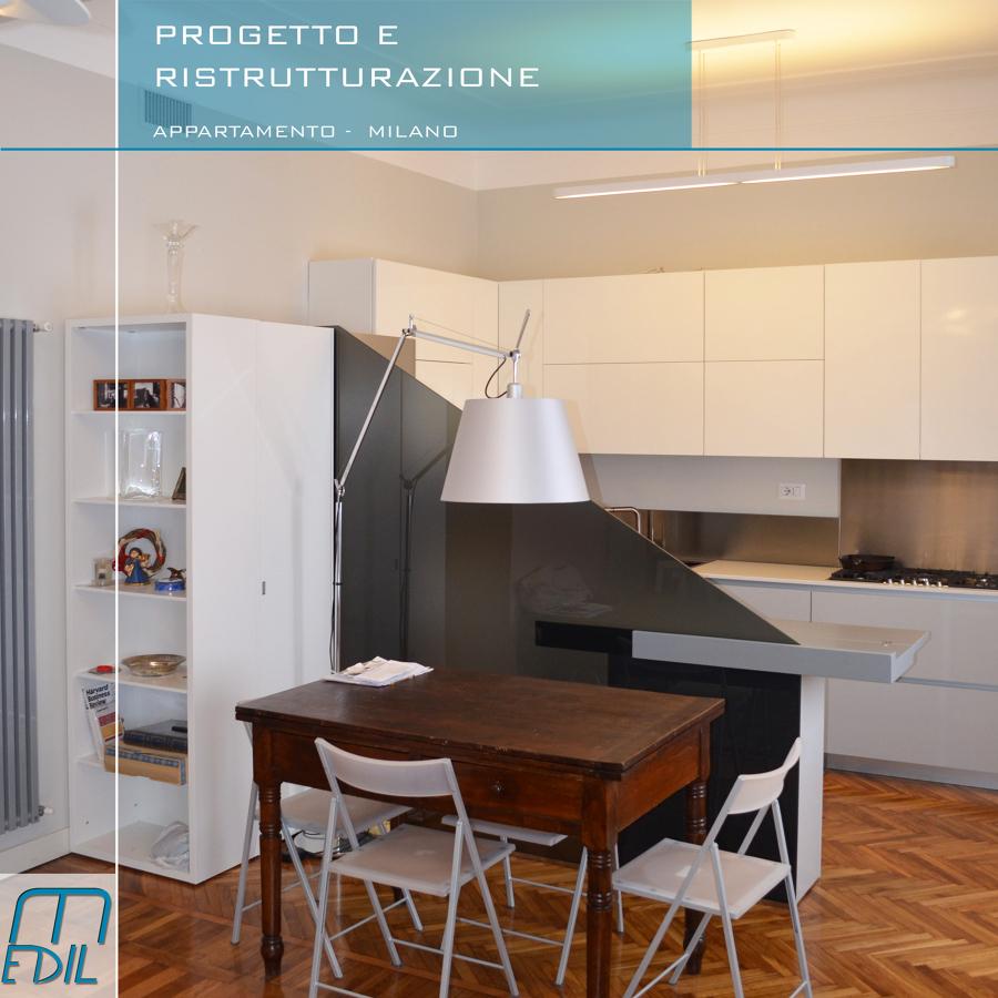 Progetto ristrutturazione appartamento in via cadore for Cucina sala da pranzo