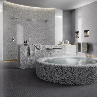 bagno rivestito in mosaico