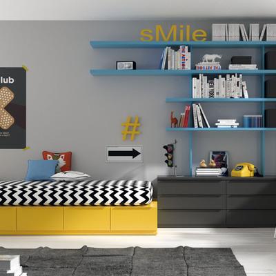 Mensole azzurre pannelli termoisolanti for Dormitorio juvenil estilo nordico