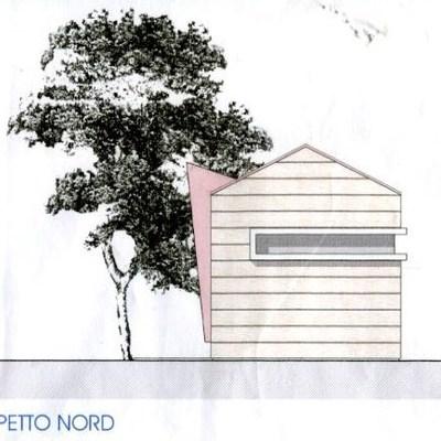 Casetta in legno prospetto Nord