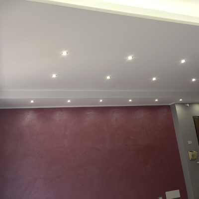 controsoffitto in cartongesso con velette e faretti a led