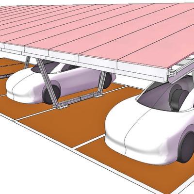 Struttura prefabbricata in acciaio per copertura posti auto