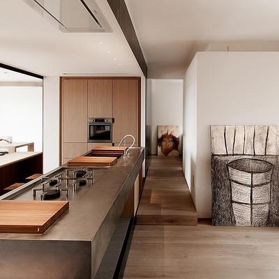 Cucina in acciaio e legno