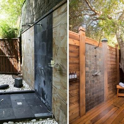 Idee e foto di docce in legno per ispirarti habitissimo - Duchas exteriores para piscinas ...