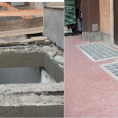 RIFACIMENTO CORTILE camminamento in vetro cemento