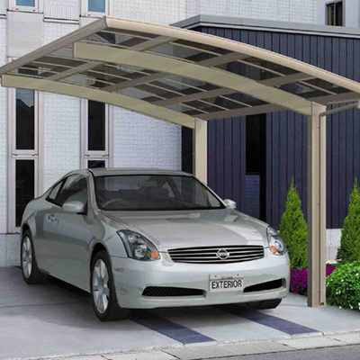 Fornitura di copriauto in alluminio e policarbonato compatto, auto singola laterale