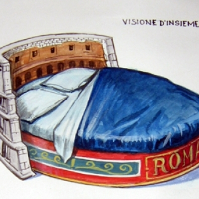 Progetto Letto a forma di Colosseo dipinto a mano opera unica.E divano a forma di drago