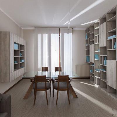 """Arredo Open Space Soggiorno e Zona Pranzo con Libreria """"a ponte"""" su misura"""
